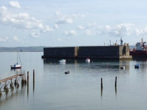 Two sections of Mulberry Harbour used for the D-Day landings of 1944 and relocated to Portland Harbour in 1946. Listed Grade I