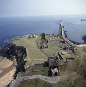 Aerial view of Tynemouth Castle and Priory, looking out to the North Sea.  K920310 © Skyscan Balloon Photography. Source: English Heritage