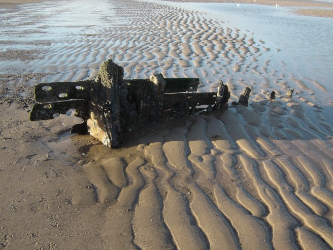Wreck of post-medieval or early modern fishing vessel, Mablethorpe, 2007, first recorded 1997. Image courtesy of John Buglass.