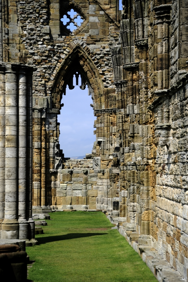 Whitby Abbey, West Front as seen from the east. This window was badly damaged in the shelling of 1914.  N080802 © English Heritage Photo Library