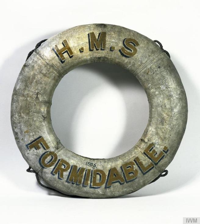 Lifebelt from HMS Formidable washed up on the Dutch coast during the First World War, presented to the Imperial War Museum in 1920. © IWM (MAR 66)