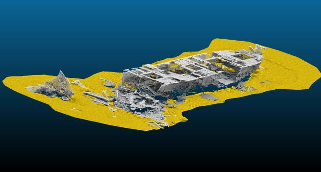 The aft section of the James Eagan Layne wreck, using modern bathymetric imagery allowing a view into the ship, and showing scattered debris