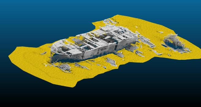 The forward section of the James Eagan Layne wreck, using modern bathymetric imagery allowing a view into the ship