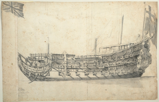Pen and ink ship portrait of the hull of the London in broadside view, with flag at her stern.