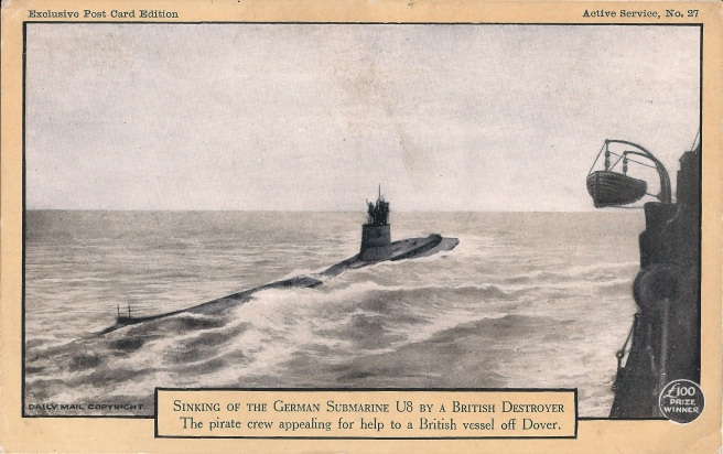 Black and white illustration of U-8 submarine on the surface being approached by a destroyer, the crew assembled on the conning tower appealing for help.