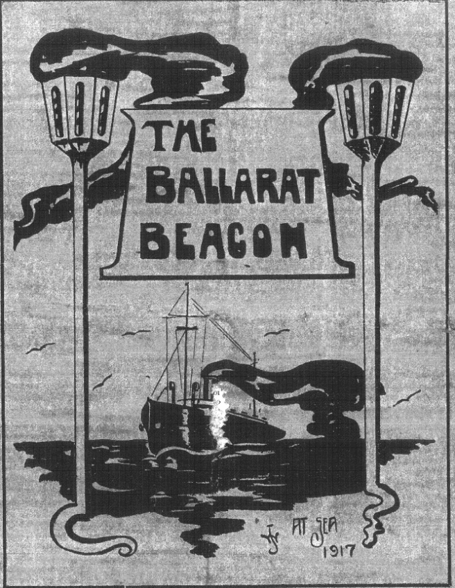 Hand-drawn black and white magazine cover depicting the Ballarat steamship at sea, flanked by two beacons, and a cartouche in contemporary lettering with the title 'The Ballarat Beacon'