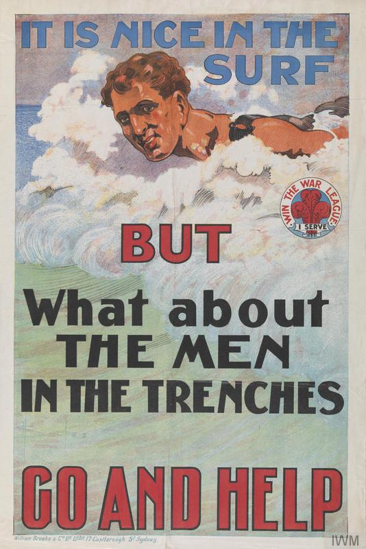Colour poster of a swimming man, captioned 'It is nice in the surf but what about the men in the trenches'