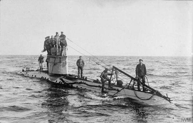 Crew of a German UC-1 class submarine. Geiser Theodore (Mons) Collection. © IWM Q 20220