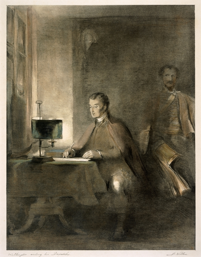 Sepia print of a seated Wellington writing at a desk, with a man standing behind him.