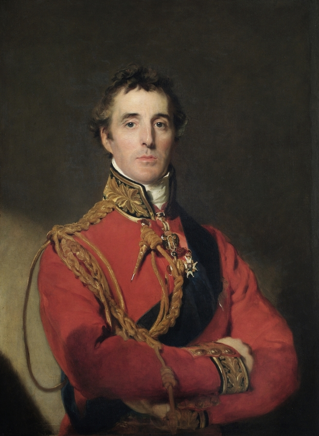 Oil painting of Wellington in his red uniform against a plain, dark background.