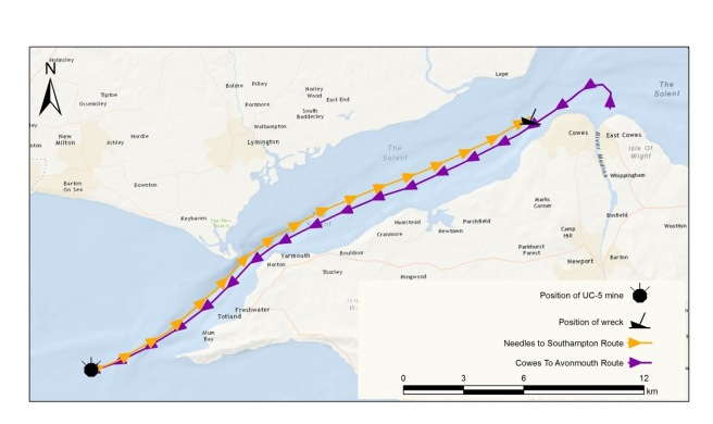 Colour map of the Solent with purple line showing outbound voyage and yellow line depicting inbound voyage, with terminal points marked by a mine symbol and a wreck symbol representing the location where the vessel struck the mine and where she sank.