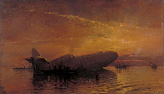 Oil painting of the hulked Zeppelin against a red and orange sky reflected in the sea with the black hulks of vessels in attendance.