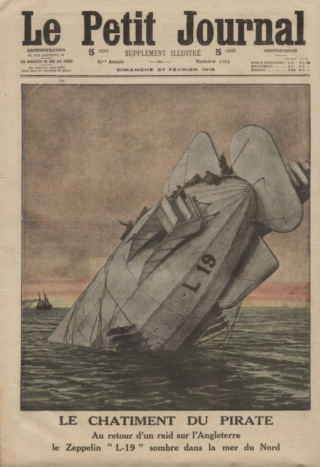 Front cover of French newspaper, with colour pen and ink illustration depicting an airship upended into the sea against a sunrise.