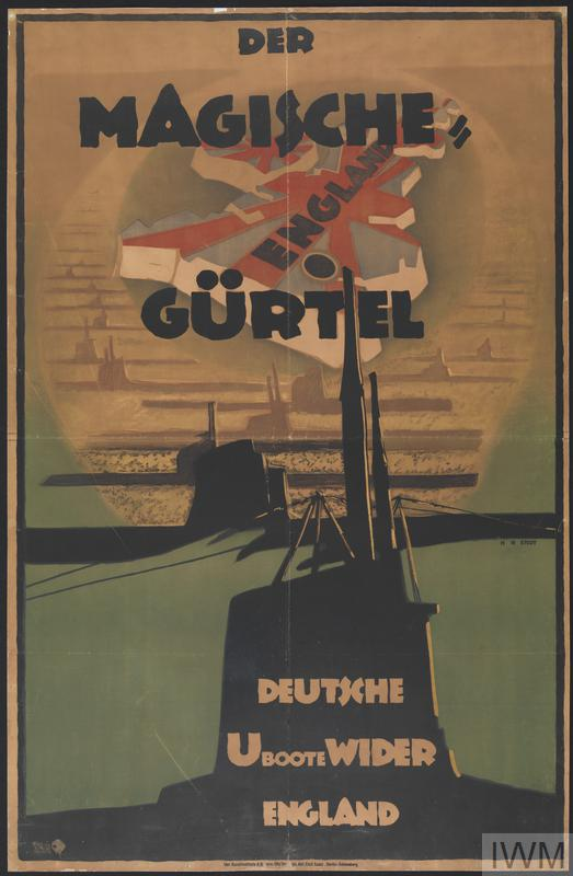 "Sepia-toned poster with German text ""Der Magische Gurtel"" at the top in black overlying a map of Britain, with surrounding U-boat silhouettes forming the sea. Two larger U-boats in black occupy the lower third of the image, with white superimposed text, ""Deutsche U-boote Wider England"""