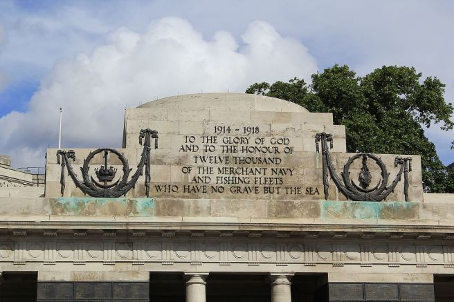 Colour photograph of stone memorial inscription reading '1914-1918: To the Glory of God and to the honour of twelve thousand of the merchant navy and fishing fleets who have no grave but the sea'.