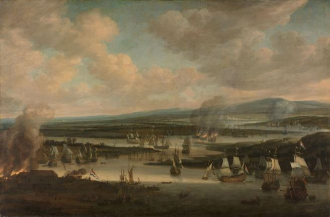 17th century oil painting in muted colours, showing a winding river with ships in combat, to lower left the grey smoke of a town burning, the sky filled with grey clouds and grey smoke.