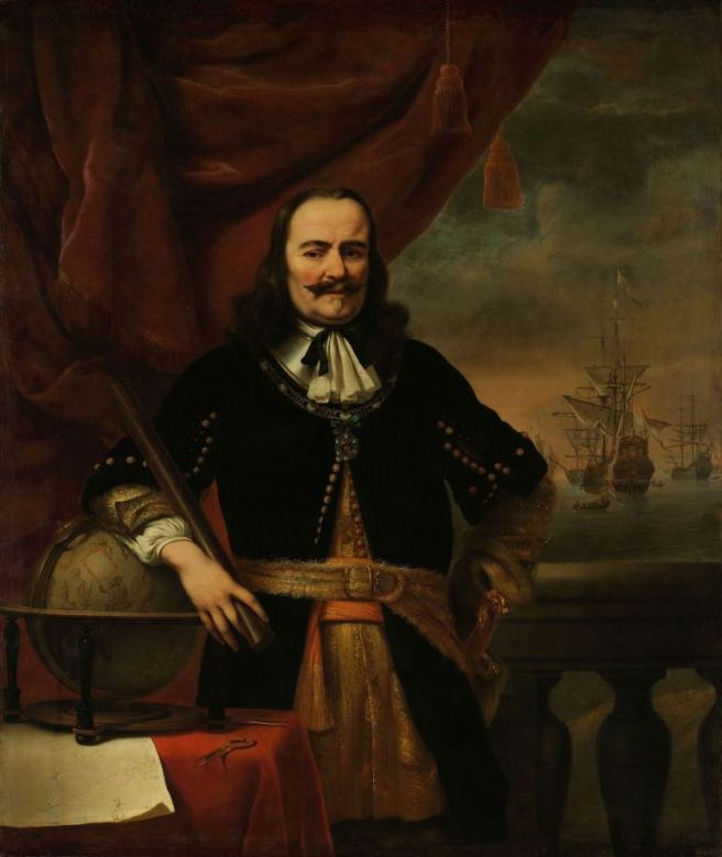 17th century portrait of sea captain in contemporary military dress, with his ship in the background beside his left elbow (on the right as the viewer sees it).