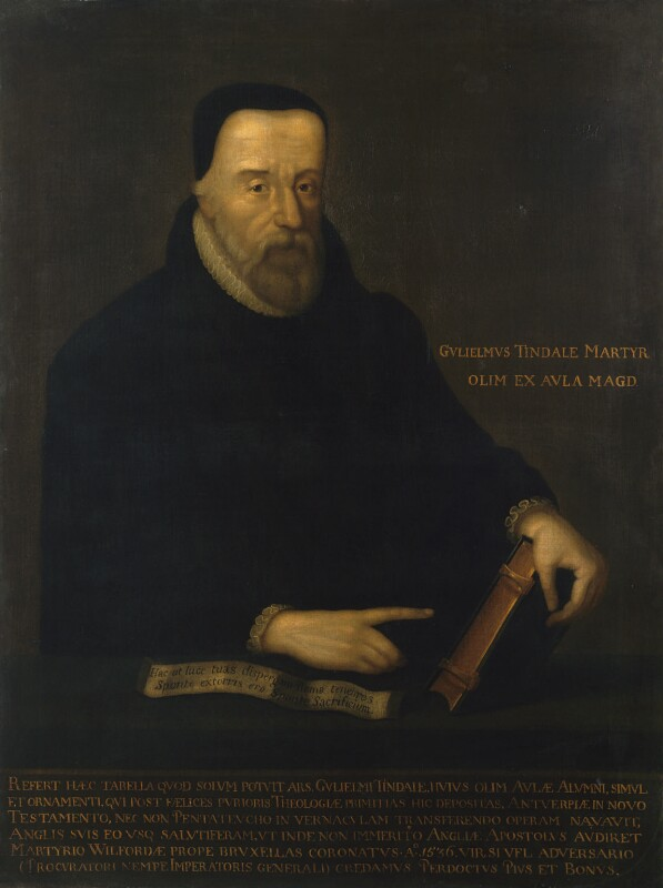 Painted image of seated man in black against a dark background. His name, in Latin, is painted in gold to the right of his arm, which holds a Bible. His left hand points to the Bible above a white text. Below the portrait is an inscription in gold lettering, also in Latin..