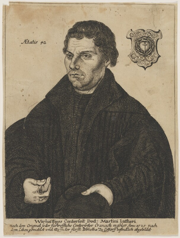 Black and white print of man with dark hair and dressed in black, facing left and holding a hat in one hand. A badge is in the background beside his head to the right, text to the left, stating his age in Latin, and further text below the image.