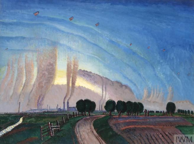 Blue sky dominates the upper two-thirds of this painting, with small barrage balloons dotted high up in the sky. Below them are plumes of smoke from the factories hidden in the background. In the foreground a flat green agricultural landscape with trees.