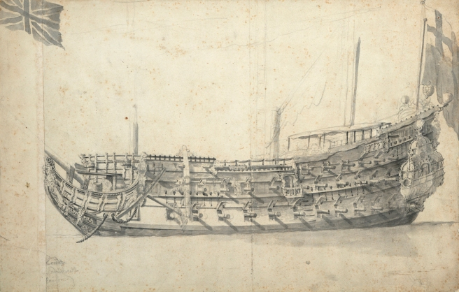 Pencil and wash portrait of a wooden warship in broadside view, bows to the left, stern to the right. From the stern a naval ensign flutters, and the lower portions of three masts are drawn. At top left is a separate drawing of a Union Jack.