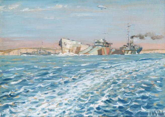 Painting from the sea looking towards cliffs and the body of a vessel painted in dazzle camouflage.