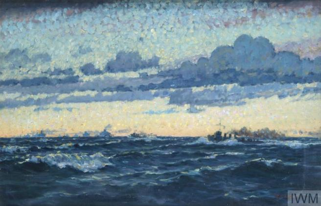 Rough dark blue sea in lower third of painting, ships barely visible against a pink tinge of sunset on the horizon, dark clouds above.