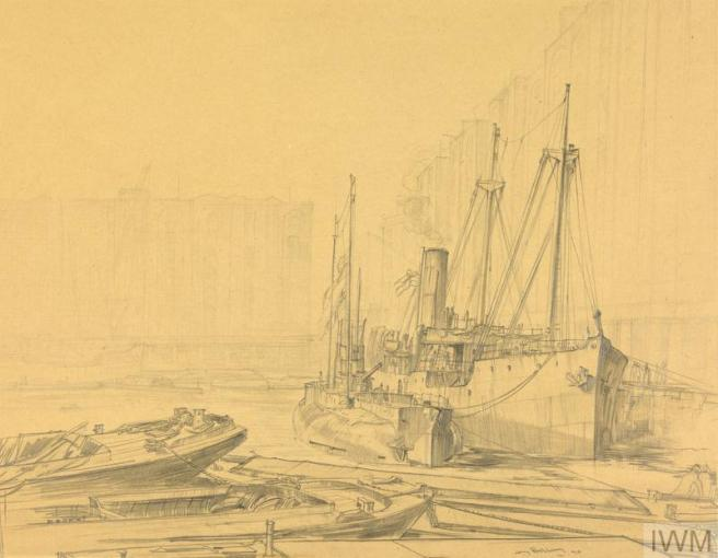 Pencil drawing of docklands, with barges in foreground and to right a submarine and ship are berthed alongside one another.