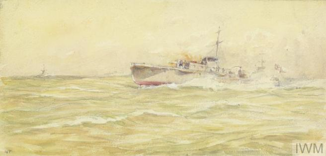 Watercolour of green-sea with small ship to right centre ground, dark wash on sea to left indicuating a submarine.