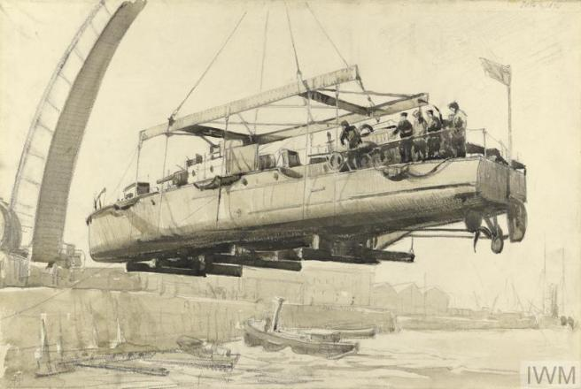 Charcoal drawing showing a boat in the centre in the air above small craft on the water, to left a curved dockyard crane is visible.