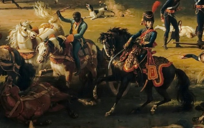 Oil painting showing a black cavalryman fighting alongside a white cavalryman in a melee of horses on the battlefield.