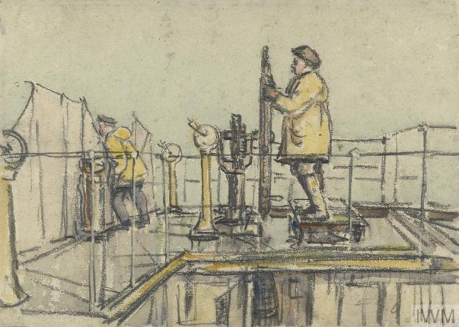 Charcoal and wash sketch of two men on deck, distinguished by their yellow oilskins, with features of the deck also picked out in yellow.