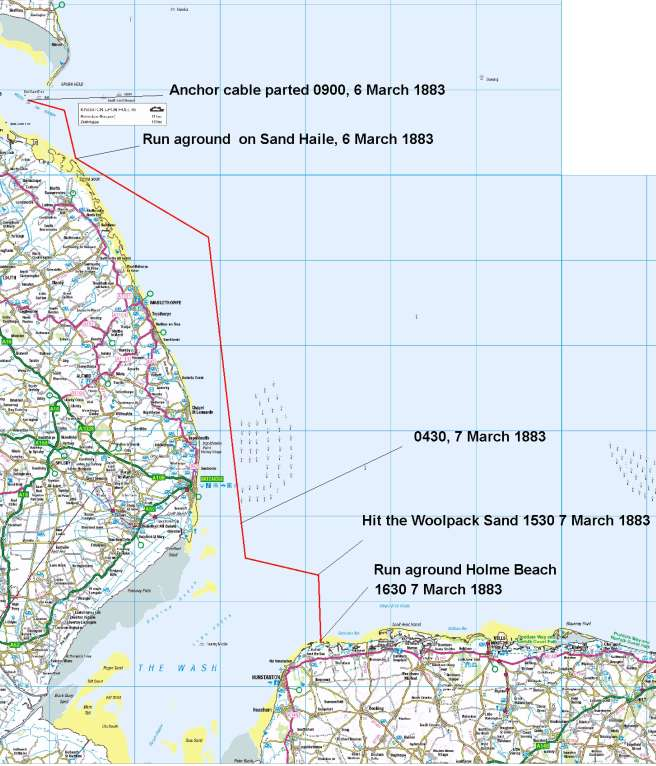 Map of the North Sea coast between the Humber and Norfolk, showing the 50 miles travelled by the Vicuna between 9am on 6 March and 3.30pm on 7 March, and the two sandbanks where she grounded en route.