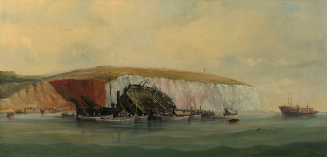 Oil painting of wrecked ship laid up against white cliffs, with boats surrounding her on a slightly swelling sea, a cloudy sky above.