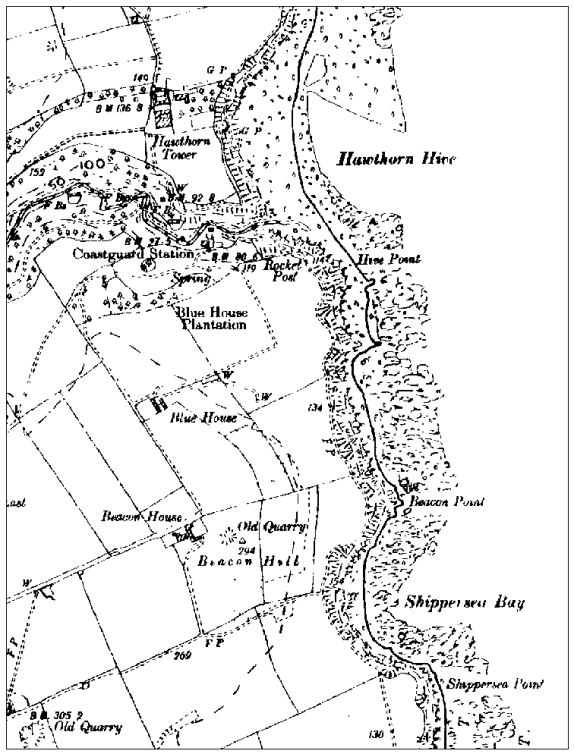 Historic B&W map of stretch of coastline, showing fields to the left, a contour of rocks and sand and blank white space to the right.