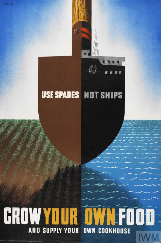 Poster with text 'Use Spades not Ships' and 'Grow Your Own Food' making use of a visual pun. The image is halved vertically, the same basic shape serving for a spade striking farmland on the left, and the bow of a ship at sea on the right.
