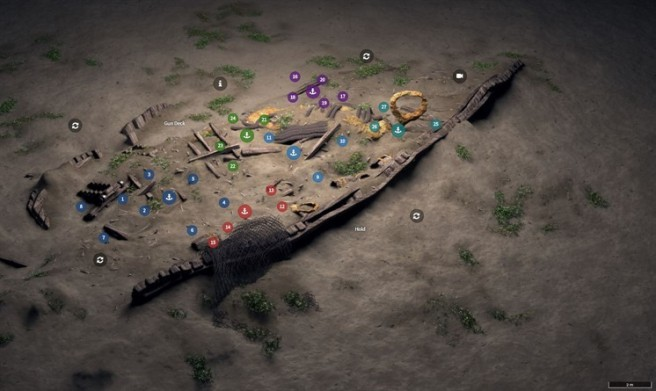 CGI image of dive trail of wreck site with coloured pin points.