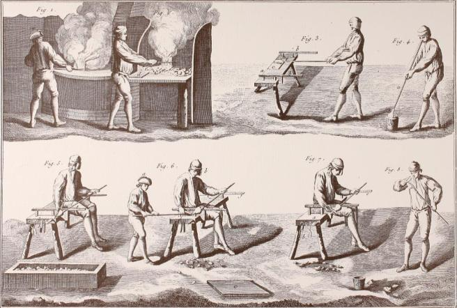 Historic print showing men at work heating, rolling, blowing, and shaping glass.