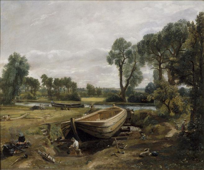 Historic oil painting with the barge under construction the central feature of a rural landscape on a flat river plain.