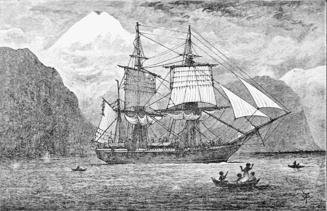 Historic black & white print of HMS Beagle in profile view against a backdrop of mountains with native inhabitants looking on from small canoes